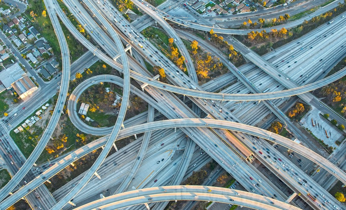 looking down at highways intersecting